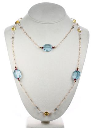 Large Aquamarine Crystal Necklace - Tiffany