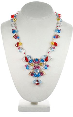 Large Crystal V Necklace - Tiffany