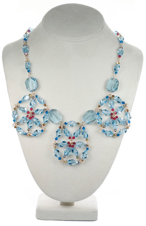 Blue Crystal Medallion Necklace - Tiffany