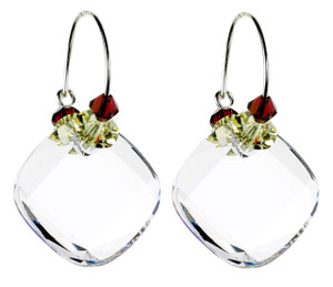 Hoop Earrings with Clear Square - Botanical