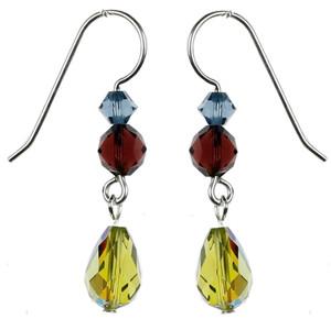 Vintage Olivine Crystal Dangle Earrings - Botanical Jewelry