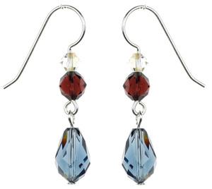 Blue Crystal Dangle Earrings - Botanical Jewelry