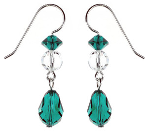 Emerald Green Dangle Earrings - May Birthstone