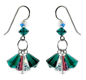 Green and Clear Dangle Earrings - May Jewelry