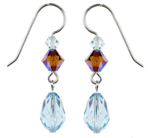 Aqua Blue Crystal Dangle Earrings - Seaside Jewelry