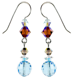 Faceted Round Aqua Crystal Earrings - Seaside Jewelry