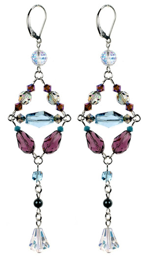 Long Elegant Crystal Strand Earrings. Made with Vintage Swarovski Crystal and Sterling Silver by Karen Curtis NYC