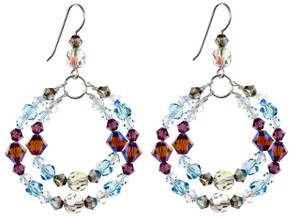 Love and Fun with these Purple and Blue Swarovski Crystal Double Hoop Earrings. Handmade by Karen Curtis in NYC.