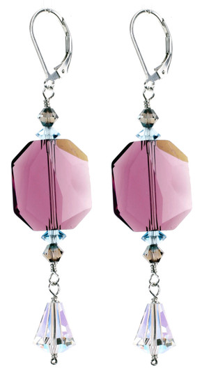 Big Purple Swarovski Crystal Earrings made with Sterling Silver andVintage Clear Crystal.