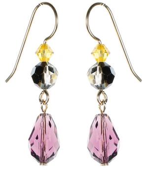 Purple Crystal Earrings - City Nights