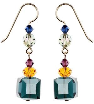 Blue Cube Crystal Earrings - City Nights