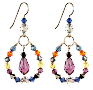 Colorful Hoop Earrings with Drop - City Nights