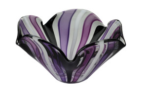 Purple and Black striped glass bowl. Hand blown art in NYC