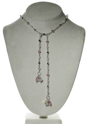 Pink Crystal Lariat Tie Necklace
