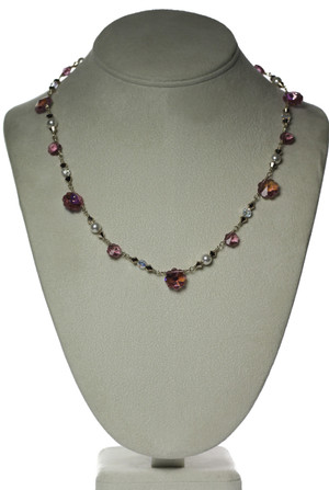 Vintage Pink Flower Crystal Necklace