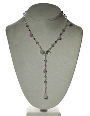 Rose Quartz & Pink Swarovski Sterling Necklace