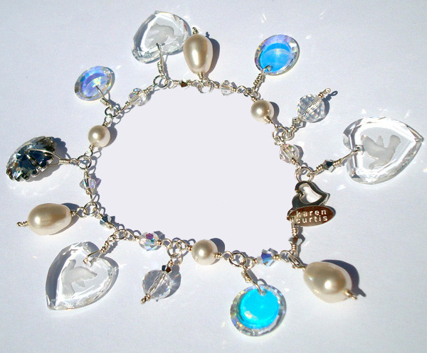 Hand crafted Sterling Silver Bridal Charm Bracelet made with SWAROVSKI ELEMENTS