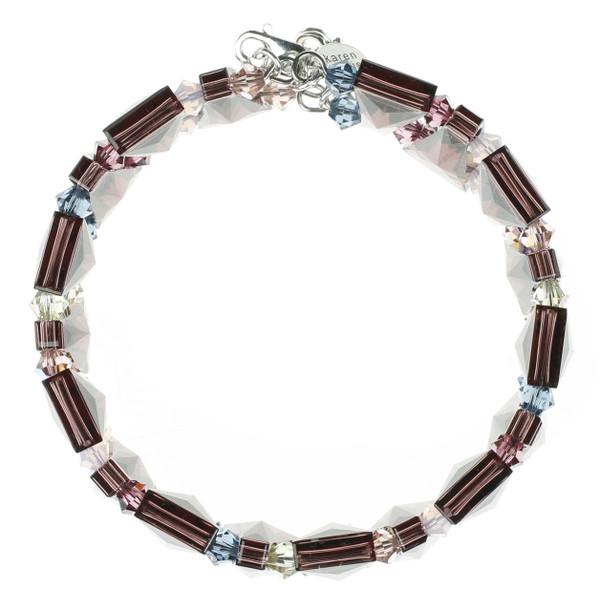 Burgundy Crystal Cuff Bracelet - Botanical