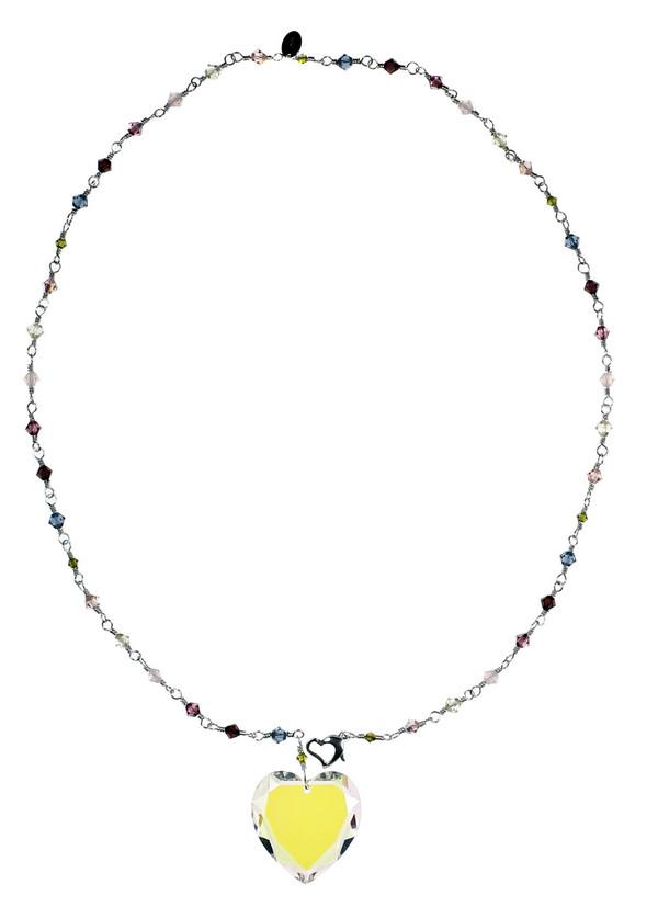 Crystal Heart Pendant Necklace - Botanical Jewelry