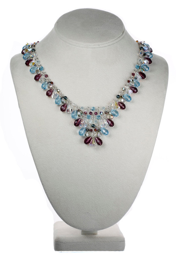 V necklace made with Swarovski Crystal and Sterling Silver by Karen Curtis NYC