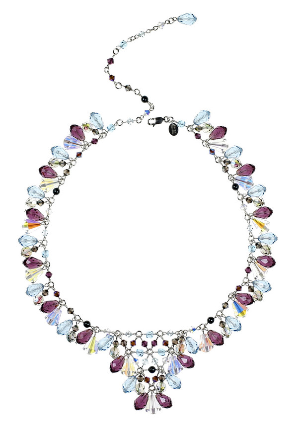 Purple and Blue Necklace made with Sterling Silver and Swarovski Crystal.