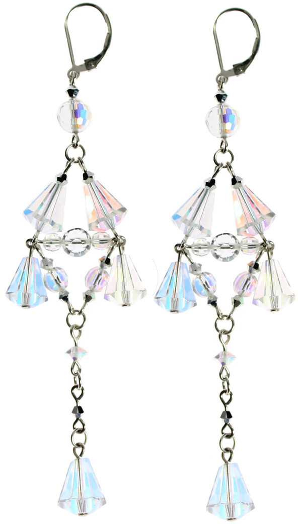 SWAROVSKI ELEMENTS and sterling silver combine to create these fantastic long drop earrings by the Karen Curtis company in NYC.