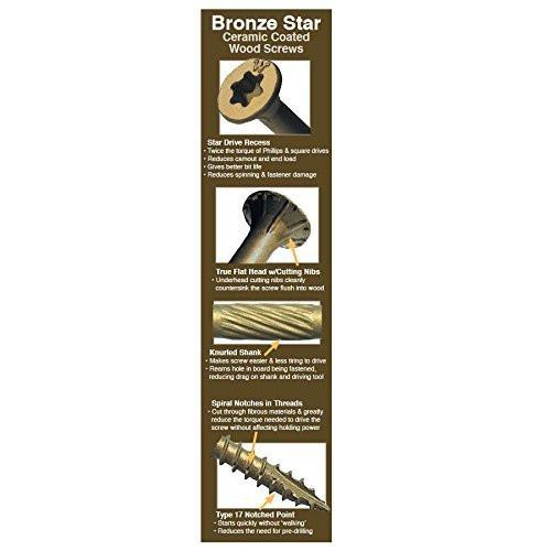 500-Pack Bronze Star Drive Flat Head Wood Screw Big Timber BTX146 #14 x 6 in