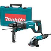 "Makita HR2641X1 1"" AVT Rotary Hammer and 4-1/2"" Angle Grinder (GA4530)"