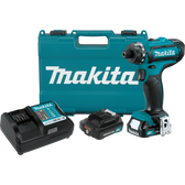 "Makita FD06R1 12V Max CXT Li-Ion Cordless 1/4"" Hex Driver-Drill Kit 2 Spd Var Spd LED Light"