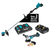Makita XRU09PTX1 18V X2 LXT Li-Ion Brshlss Crdlss String Trimmer Kit 5.0Ah & Brushless Angle Grinder