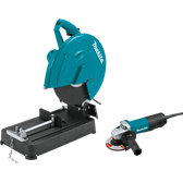 "Makita LW1401X2 14"" Cut-Off Saw with 4-1/2"" Paddle Switch & 9557PB Angle Grinder"