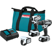 Makita CT322W 18V LXT Li-Ion Compact Cordless 3 Pc Combo Kit XFD10ZW XDT11ZW DML186W Bag (1.5Ah)