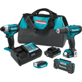 Makita CT409R 12V Max CXT Li-Ion Cordless 4 Pc Combo Kit FD05Z DT03Z ML103 RM02 Bag 2.0Ah