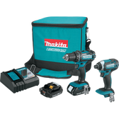 Makita CT225R 18V LXT Li-Ion Compact Cordless 2 Pc. Combo Kit XFD10Z XDT11Z Bag 2.0Ah