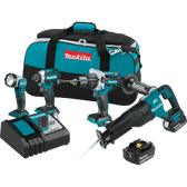 Makita XT450T 18V LXT Li-Ion Brushless Cordless 4 Pc Combo Kit 5.0Ah