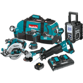 Makita XT705PT 18V LXT Li-Ion Brushless Cordless 7 Pc Combo Kit XPH07Z XDT14Z XRJ05Z XSH03Z XAG09Z XRM06B DML802 dual port charger Bag 5.0Ah