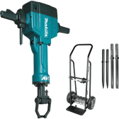 "Makita HM1810X3 70Lb AVT Breaker Hammer 1-1/8"" Hex AC/DC 4Pc Steel Set Premium Cart"