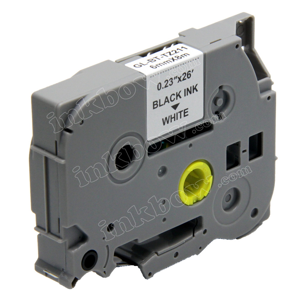 Black on White Label Tape TZ TZe 211 Compatible For Brother P-Touch PT200 PT300