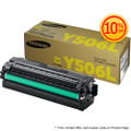 Original Samsung CLT-Y506L Yellow High Yield Laser Toner Cartridge (506L) in Retail Packaging