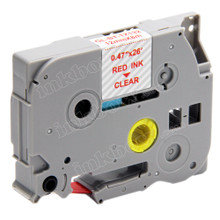 Compatible TZe-132 Laminated Label Tape for Brother Printer (12mm Red on Clear)