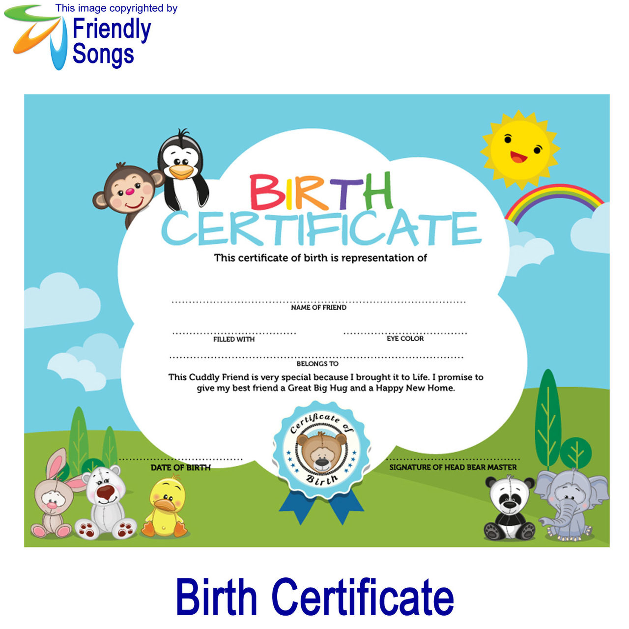 Birth Certificate for your Stuffed Animal