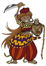 RAR I am a mighty chieftain's equally mighty wife and I have PLUNDER! Check out my plunder! I am covered in jewels and I have a SWORD and RAR!