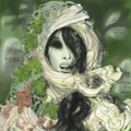 The Green Lady is a goddess of the dead; she wears a shroud, her hair is tangled with dead leaves and oakmoss, ivy clings to her, her skin is deathly pale and she has no eyes... eyes are one of the first things to go.