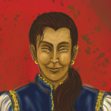 A saturnine man with the golden eyes of a fox, a sallow complexion, and thick dark hair pulled back into a ponytail both lush and ruthless. He is wearing a gold-edged velvet tunic, small gold earrings, and a wide, thin-lipped smirk.