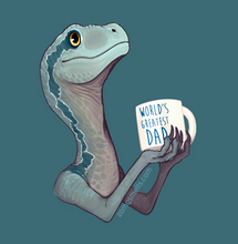 "A raptor with big cute eyes and a blue streak gazing lovingly upward, holding a coffee mug that says ""World's Best Dad."""