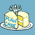 A yellow cake with a symbolic muscle-man torso in tasteful blue popping out of it. That makes it sound creepy, but it's supposed to look tasty.