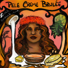 Pele creme brulee: a fancy drawing of Pele's wild hair, slightly judgy and unpredictable face, and the fixings for a pina colada creme brulee.