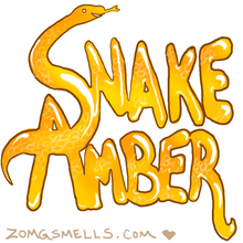 Snake Amber, spelled out in shiny amber letters with snakeskin texture here and there. The S is a smiling, stylized snake.