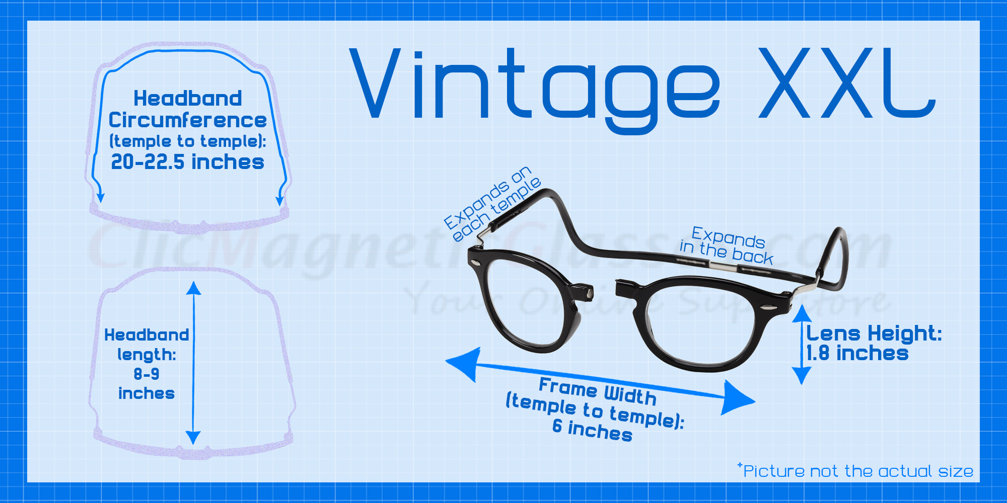 68595206f1 Clic Vintage XXL Oval Reading Glasses in Black - Clic Magnetic Glasses