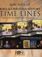 Here are 6,000 years and 20 feet of time lines in one beautiful hard-bound cover book! From Adam to modern times, this easy-to-understand Bible study tool will help you compare Bible and world history. Read it like a book, or pull out the 20-foot time line and post it on the wall. This gorgeous time line is printed on heavy chart paper, and can read like a book, or slipped out of its binding and posted in a hallway or large room.   The first 10 feet show a Bible Time Line filled with colorful photos and illustration that compares Scriptural events with world history and Middle East history. Shows hundreds of facts; includes dates of kings, prophets, battles, and key events.   The next 10 feet show a time line of Church History also filled with color photos and illustrations that begins with the life of Jesus and continues to the present day. Includes brief explanations of more than 300 key people and events that all Christians should know. Emphasis on world missions, the expansion of Christianity, and Bible translation in other languages.